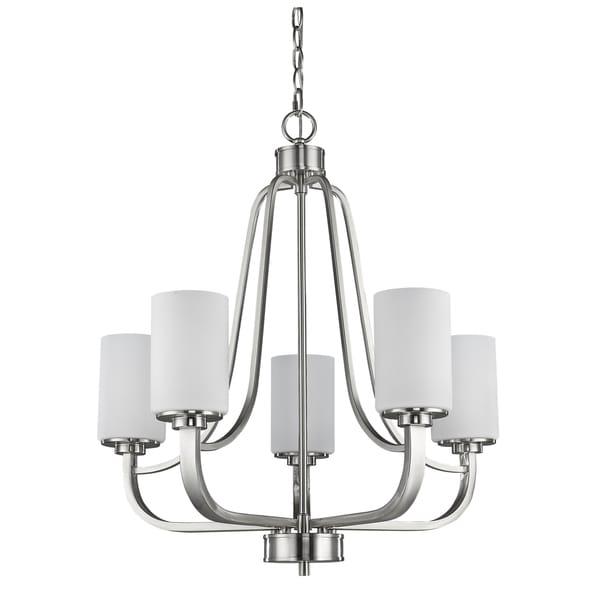 Acclaim Lighting Addison Satin Nickel/White Opal Metal/Glass 5-light Chandelier