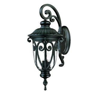 Acclaim Lighting Naples Collection Wall-Mount 3-Light Outdoor Matte Black Light Fixture