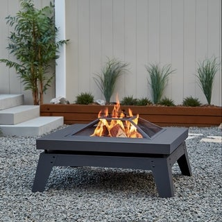 Real Flame Breton Wood Grey Steel 36.75-inch Fire Pit