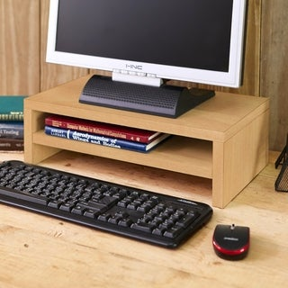 Eco 2 Tier Computer Monitor Stand TV Shelf and Laptop Risers, Natural LIFETIME GUARANTEE