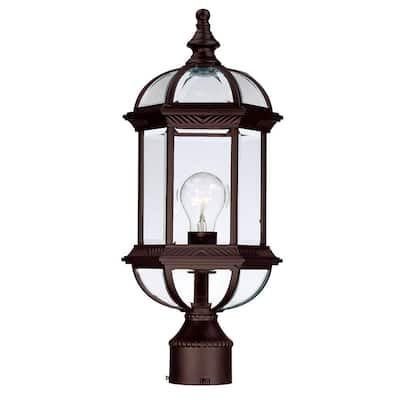 Acclaim Lighting Dover Collection Post-Mount 1-Light Outdoor Burled Walnut Light Fixture