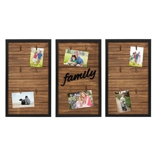 Kate and Laurel Alena Family Wood 3 Piece Clip Photo Collage, Black
