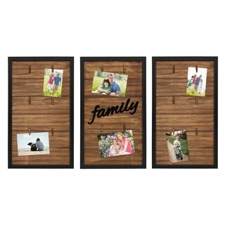 Kate and Laurel Alena Family Wood 3 Piece Clip Photo Collage, Black - N/A