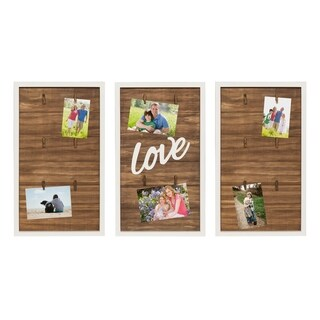 Kate and Laurel Alena Love Wood 3 Piece Clip Photo Collage, White - N/A