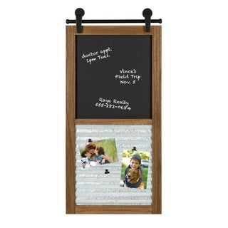 Sugarbrook Wood Framed Chalkboard Wall Organizer, Rustic Brown 17x34.5 - N/A