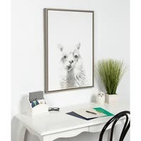 Sylvie Alpaca Framed Canvas Wall Art by Simon Te Tai, Gray 23x33