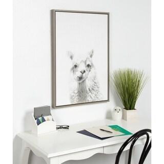 Sylvie Alpaca Framed Canvas Wall Art by Simon Te Tai, Gray 23x33 - N/A
