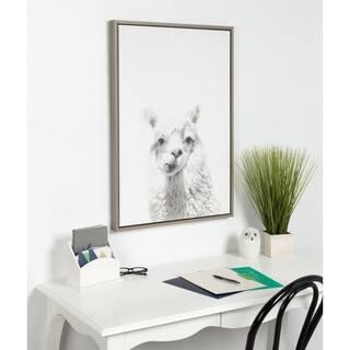 Sylvie Alpaca Framed Canvas Wall Art by Simon Te Tai, Gray 23x33