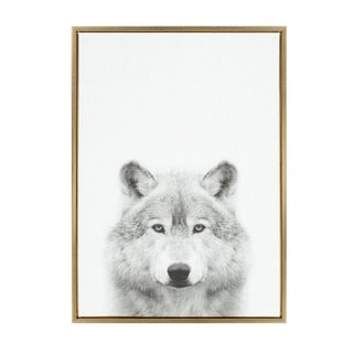 Sylvie Wolf Framed Canvas Wall Art by Simon Te Tai, Gold 23x33