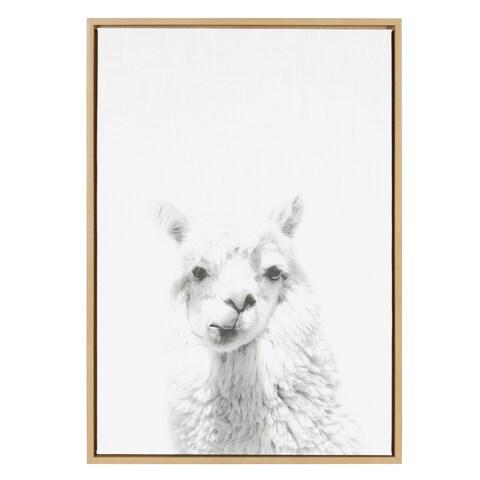 Sylvie Alpaca Framed Canvas Wall Art by Simon Te Tai, Natural 23x33