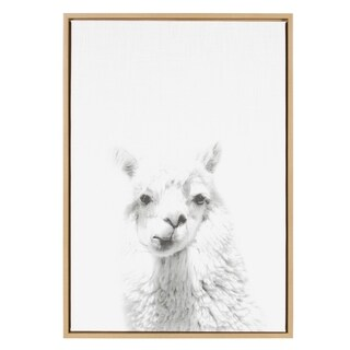 Sylvie Alpaca Framed Canvas Wall Art by Simon Te Tai, Natural 23x33