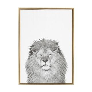 Sylvie Lion Framed Canvas Wall Art by Simon Te Tai, Gold 23x33