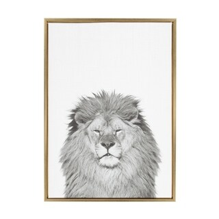 Sylvie Lion Framed Canvas Wall Art by Simon Te Tai, Gold 23x33