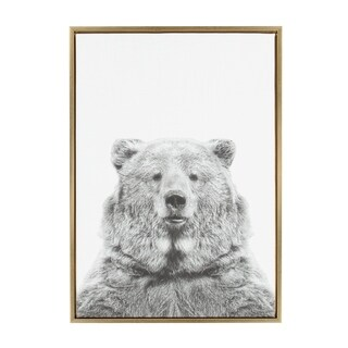 Sylvie Bear Framed Canvas Wall Art by Simon Te Tai, Gold 23 x 33
