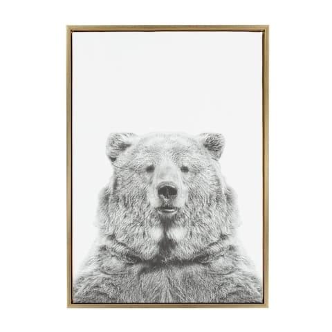 Sylvie Bear Framed Canvas Wall Art by Simon Te Tai, Gold 23 x 33
