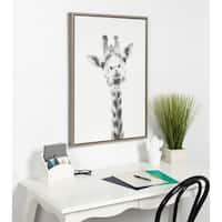 Sylvie Giraffe Framed Canvas Wall Art by Simon Te Tai, Gray 23x33
