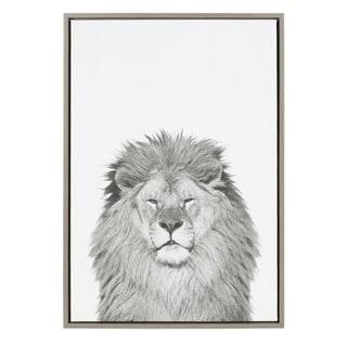 Sylvie Lion Framed Canvas Wall Art by Simon Te Tai, Gray 23x33