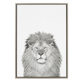 Sylvie Lion Framed Canvas Wall Art by Simon Te Tai, Gray 23x33