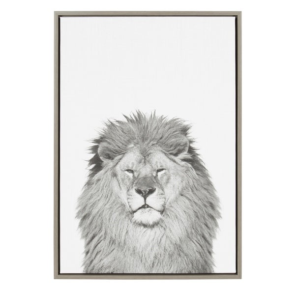 Shop Sylvie Lion Framed Canvas Wall Art by Simon Te Tai, Gray 23x33 ...