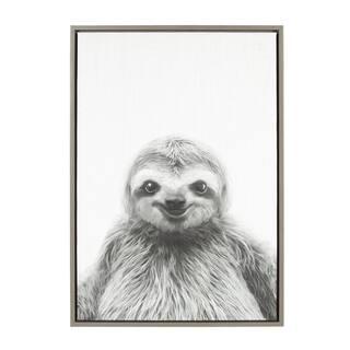 Sylvie Sloth Framed Canvas Wall Art by Simon Te Tai, Gray 23x33