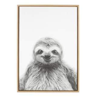 Sylvie Sloth Framed Canvas Wall Art by Simon Te Tai, Natural 23x33