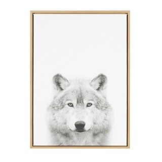 Sylvie Wolf Framed Canvas Wall Art by Simon Te Tai, Natural 23x33