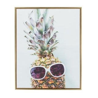 Sylvie Dope Pineapple Framed Canvas Art by Amy Peterson, Gold 28x36