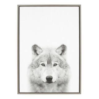 Sylvie Wolf Framed Canvas Wall Art by Simon Te Tai, Gray 23x33