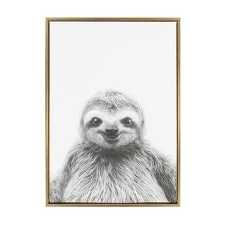 Sylvie Sloth Framed Canvas Wall Art by Simon Te Tai, Gold 23x33