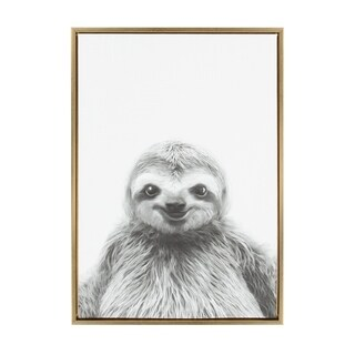 Sylvie Sloth Framed Canvas Wall Art by Simon Te Tai, Gold 23x33