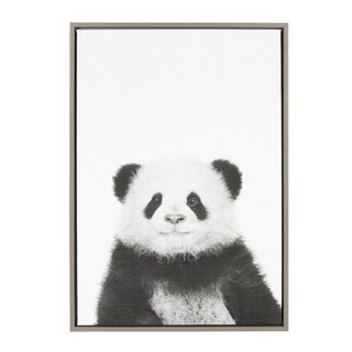 Sylvie Panda Framed Canvas Wall Art by Simon Te Tai, Gray 23x33