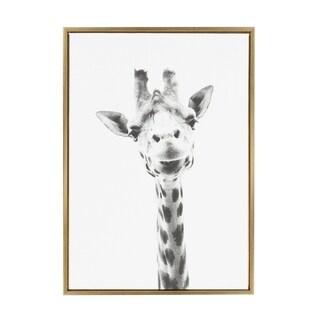 Sylvie Giraffe Framed Canvas Wall Art by Simon Te Tai, Gold (23 x 33-inch)