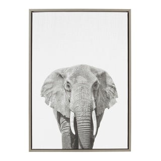 Sylvie Elephant Framed Canvas Wall Art by Simon Te Tai, Gray 23x33 - N/A