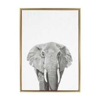 Sylvie Elephant Framed Canvas Wall Art by Simon Te Tai, Gold 23x33