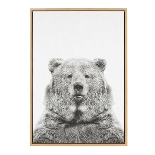 Sylvie Bear Framed Canvas Wall Art by Simon Te Tai, Natural 23x33