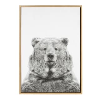 Sylvie Bear Framed Canvas Wall Art by Simon Te Tai, Natural 23x33