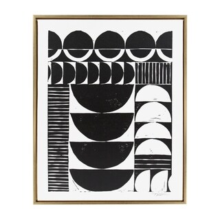 Sylvie Modern Circular Block Framed Canvas Art by Statement Goods, Gold 28x36