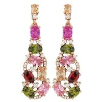 Luxiro Sterling Silver Rose Gold Finish Lab-created Ruby with Multi-color Cubic Zirconia Women's Dangle Earrings - Pink