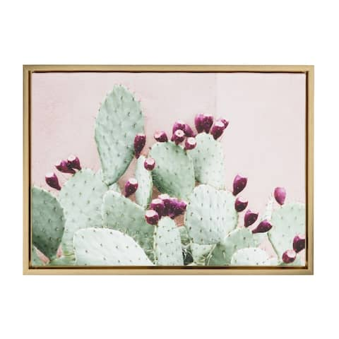 Sylvie Cactus 25 Gold Framed Canvas Wall Art by Amy Peterson, 18x24
