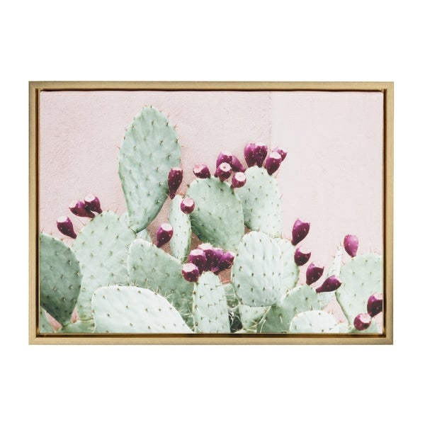 Shop Sylvie Cactus 25 Gold Framed Canvas Wall Art By Amy