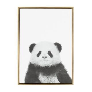 Sylvie Panda Framed Canvas Wall Art by Simon Te Tai, Gold 23x33