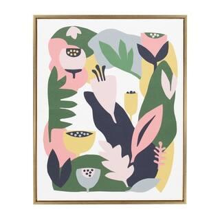 Sylvie Myriam's Garden Framed Canvas Wall Art by Myriam VanNeste, Gold 28x36