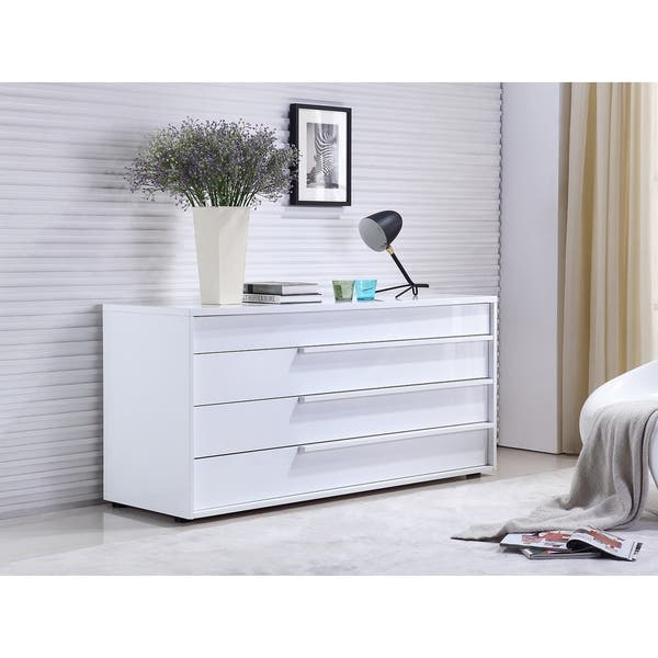 Dolce High Gloss White Lacquer Dresser