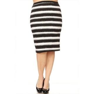 Women's Plus Size Striped Pencil Skirt