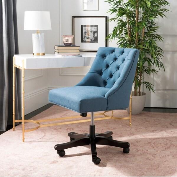 """Safavieh Soho Tufted Linen Swivel Desk Chair - 25.2"""" x 27.2"""" x 33.9"""""""