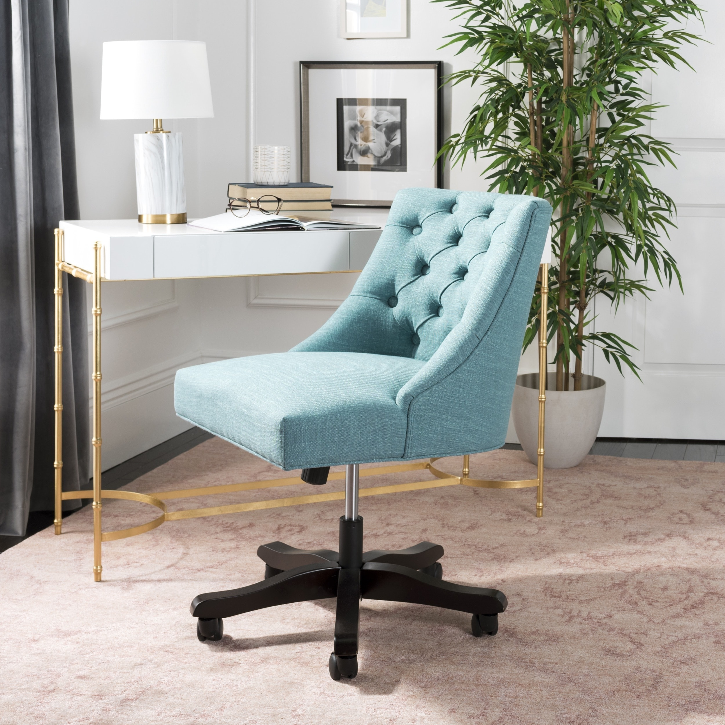 Pleasing Safavieh Soho Tufted Linen Swivel Desk Chair 25 2 X 27 2 X 33 9 Ocoug Best Dining Table And Chair Ideas Images Ocougorg
