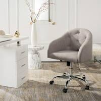 Safavieh Amy Tufted Linen Chrome Leg Swivel Office Chair