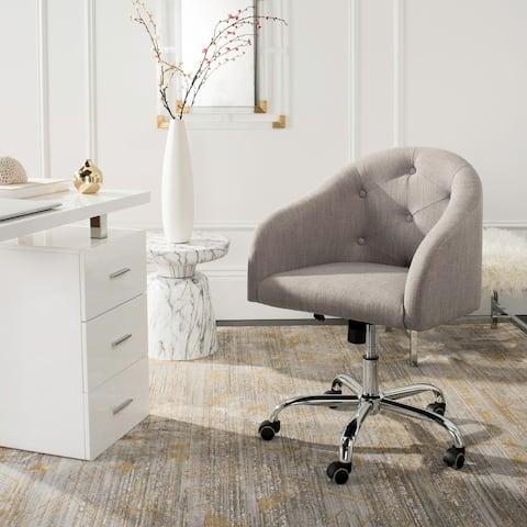 "Safavieh Amy Tufted Linen Chrome Leg Swivel Office Chair - 24"" x 22"" x 31.9"""