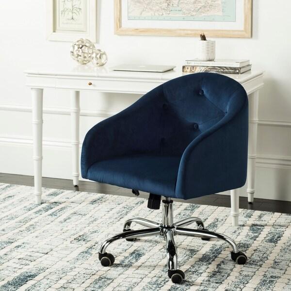 """Safavieh Amy Tufted Velvet Chrome Leg Swivel Office Chair - 24"""" x 22"""" x 31.9"""""""