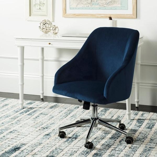 """Safavieh Adrienne Velvet Chrome Leg Swivel Office Chair - 24"""" x 21.6"""" x 34.5"""""""